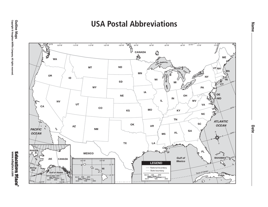 Blog Archives Mr Tessin - Map of the postal abreviations for the us