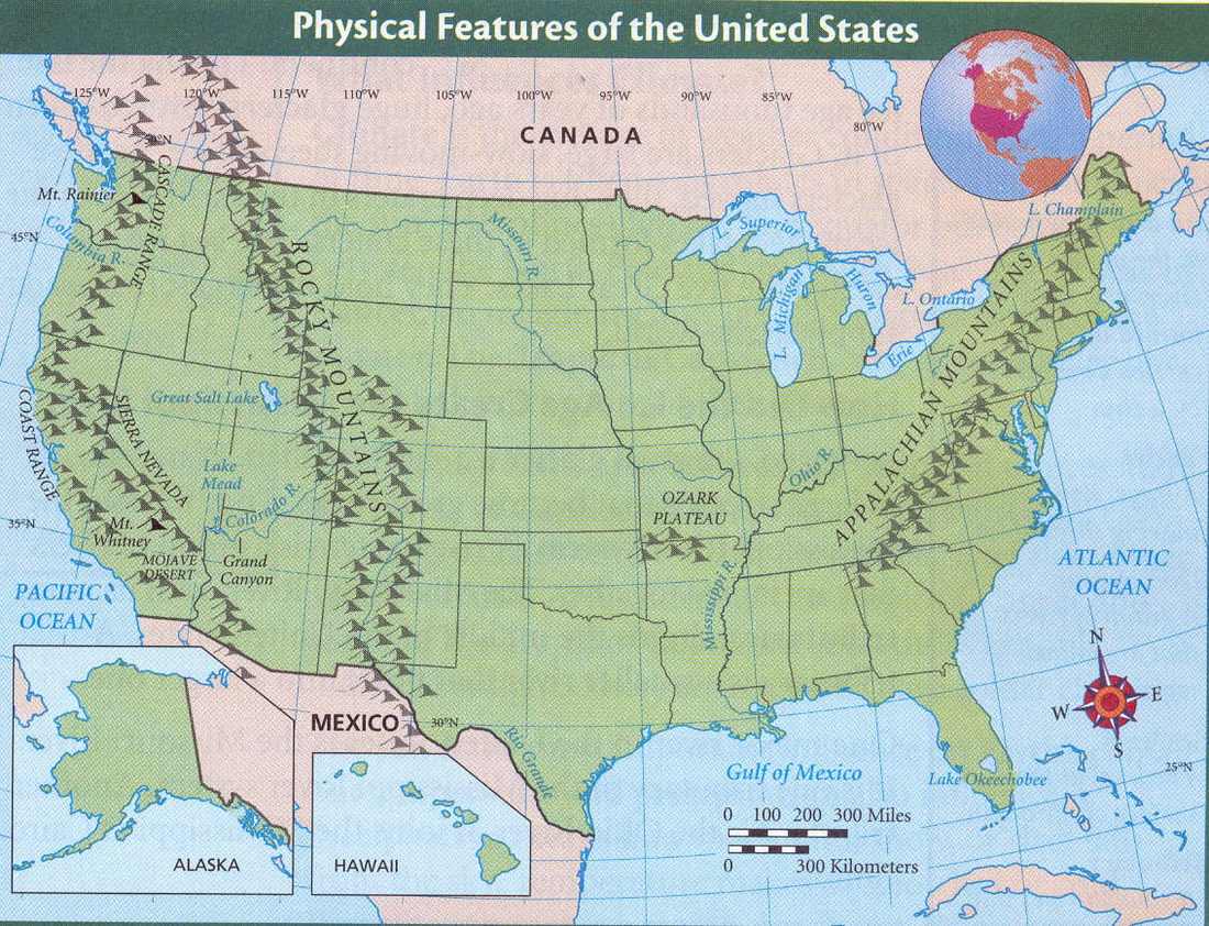 Us Physical Map With Rivers And Mountains Us Physical Map With - Labeled us map with mountain range and rivers